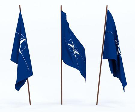 north atlantic treaty organization: The flag of North Atlantic Treaty Organization. On white background Stock Photo