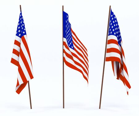 The state flag of United States of America. On white background Stock Photo