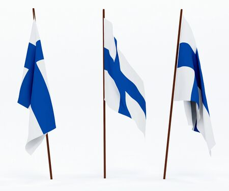 The state flag of Finland. On white background