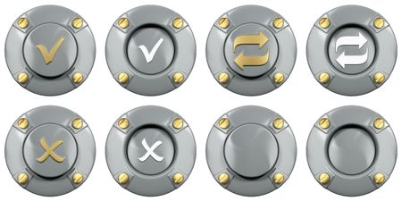Media icon under a stylized metal button with bolts Stock Photo - 6326928