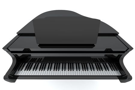 Black grand piano isolated on light background photo