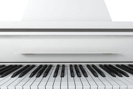 Pianoforte a coda bianco isolato su sfondo chiaro