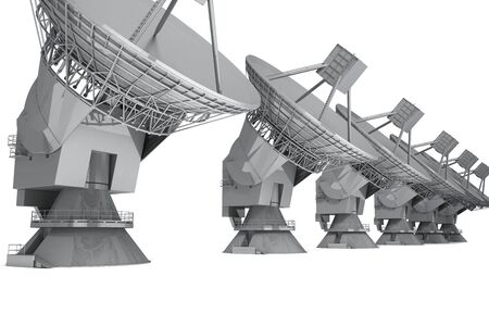Piatto satellitare isolato su sfondo bianco. rendering 3D Archivio Fotografico