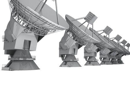defenses: Satelite dish isolated on white background. 3d render