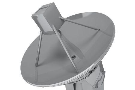 satelite: Plato de sat�lite aislado sobre fondo blanco. procesamiento 3D  Foto de archivo