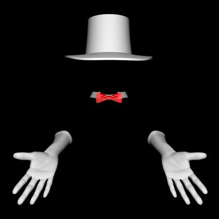 White magician hat and gloves. On black  background Stock Photo - 6449067