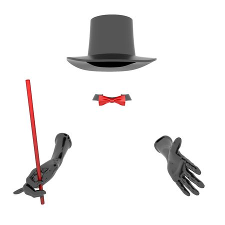 Black magician hat and gloves. On white background Stock Photo