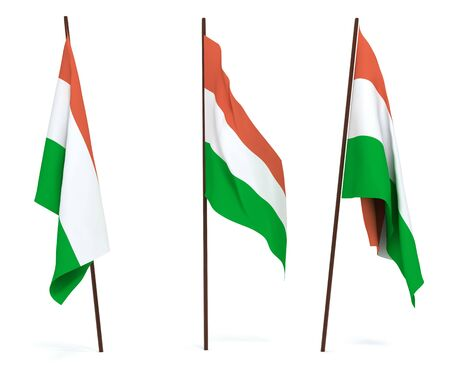 The state flag of Hungary. On white background photo