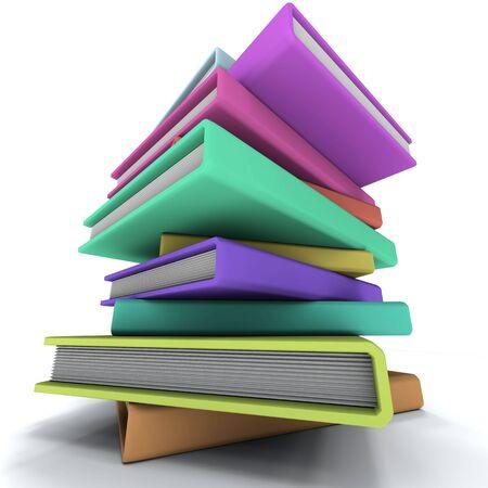 Pyramid of the dummies books. On white background. Stock Photo