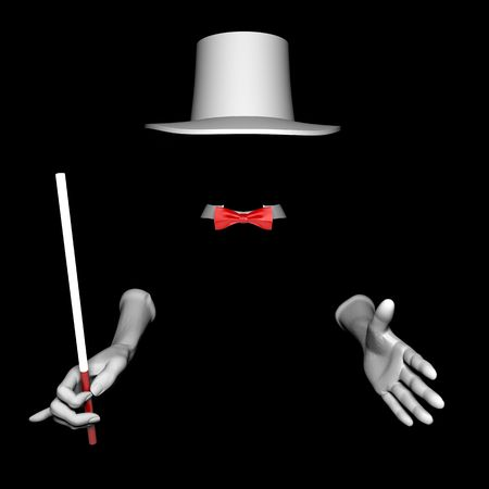 White magician hat and gloves. On black  background Stock Photo - 6486101
