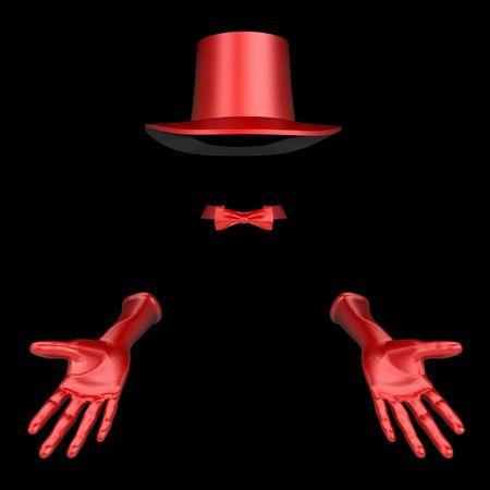 Sombrero de mago rojo y guantes. Sobre fondo negro