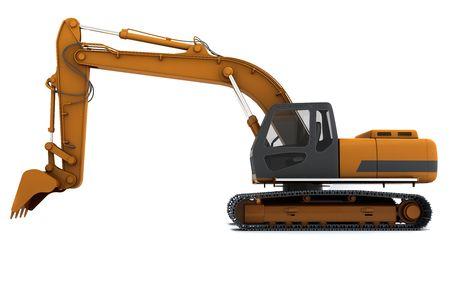 Arancione sporco scavatrice isolato su sfondo bianco. Vista laterale