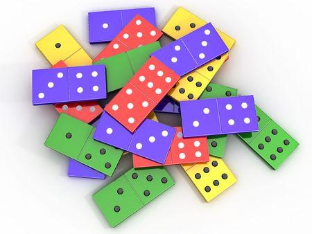 topple: Scattered colored shiny bones dominoes on light background