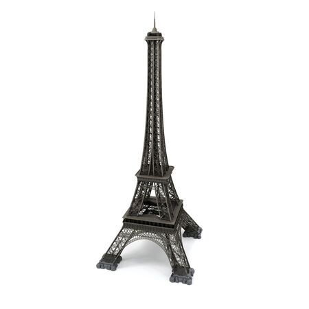 built tower: Eiffel tower isolated on white. Computer graphics