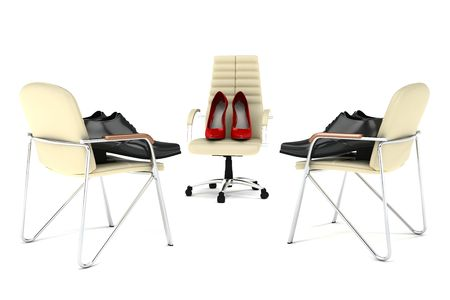 subordinates: Womens shoes in the role of the boss and the mens shoes in the role of subordinates are on the office chairs. Isolated on white Stock Photo