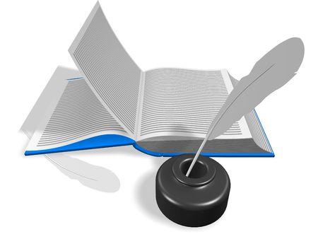 pluma de escribir antigua: Dise�o de un libro abierto. Con Inkwell y l�piz. procesamiento 3D. Aislados en blanco.