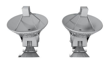 satelite: Plato de sat�lite aislado sobre fondo blanco.