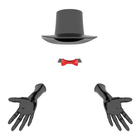 Black magician hat and gloves. On white background Stock Photo - 6532957