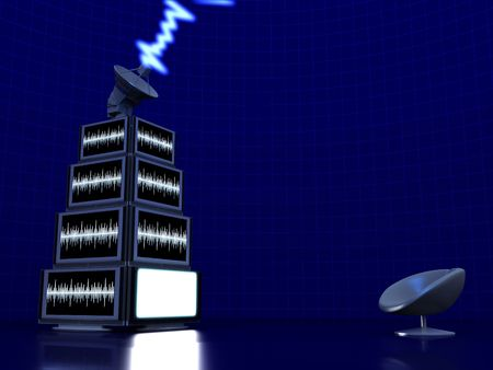 satelite: Pyramid of tv screens with Satelite dish