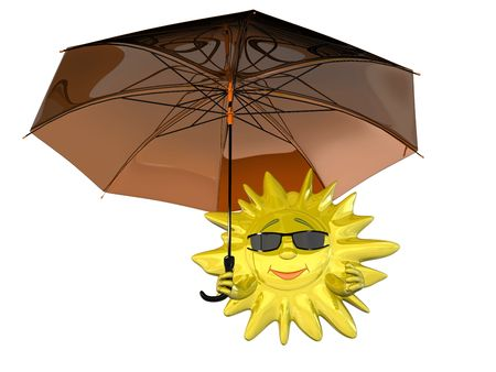 Cartoon sun in glasses with umbrella isolated on white background photo