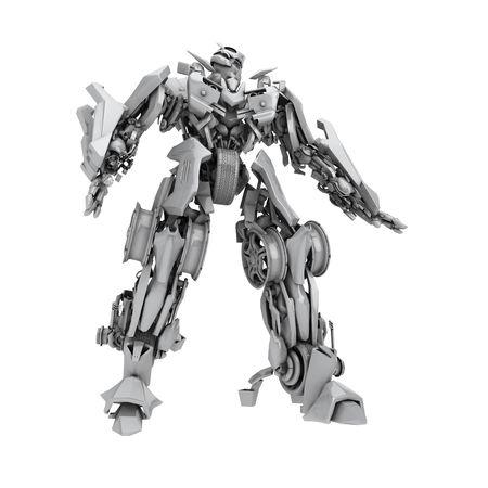 Robot trasformatore isolato su sfondo bianco. rendering 3D