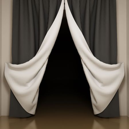 Black and white curtains with open-angle. View to dark room Stock Photo