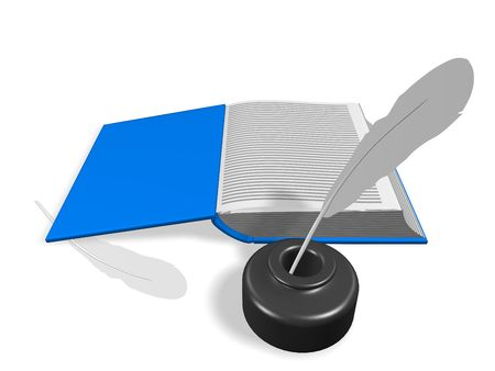 Layout of an open book. With Inkwell and pen. 3d render. Isolated on white. Stock Photo - 6582691