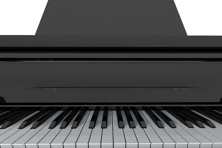 Grand piano keys on light background. Close-up view