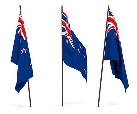 Lo Stato di bandiera della Nuova Zelanda. Su sfondo bianco