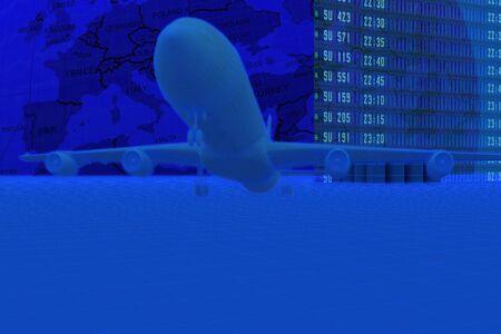 Plane on floor against the globe. Futuristic render
