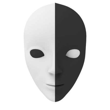 Theatrical white and black mask isolated on white