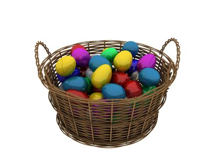 Basket with colored eggs isolated on white Stock Photo - 6615055
