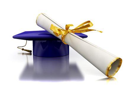 Copricapo del laurea con diploma sul piano di specchiatura
