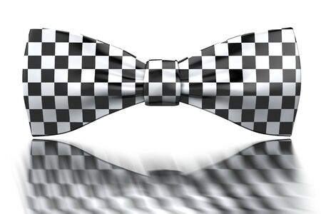 Checkered black and white bow-tie isoladed on mirror surface Stock Photo - 6615044