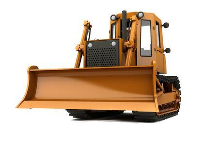 Orange dirty bulldozer isolated on whiite background photo