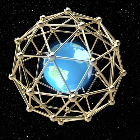 Globus enclosed in a metal grid from small spheres photo