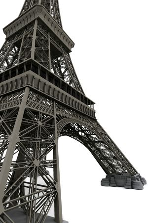 Eiffel tower isolated on white. Computer graphics photo