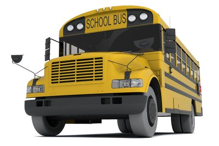 Single yellow school bus isolated on white background
