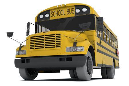 transporte escolar: Solo autob�s escolar amarillo, aislado sobre fondo blanco