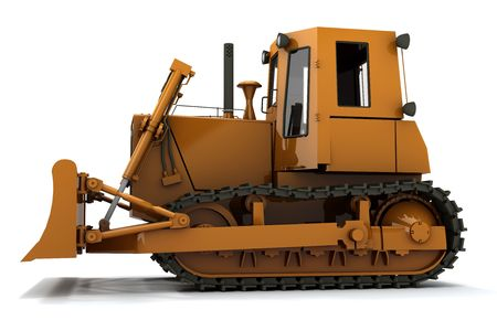 Orange dirty bulldozer isolated on white background photo
