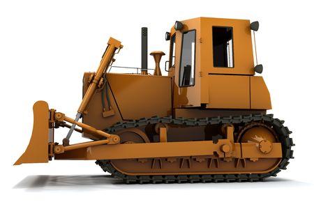 Orange dirty bulldozer isolated on white background photo