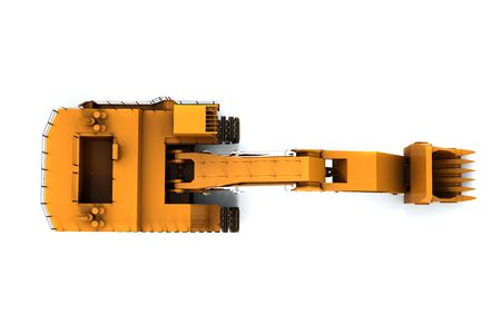 Orange dirty digger isolated on white background. Top view