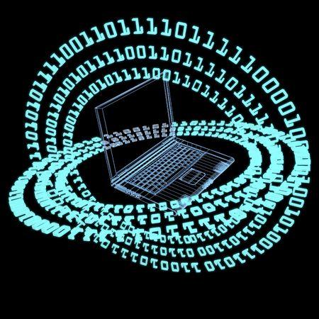Rendering futuristico astratta. Numeri che si trova su un cerchio intorno ad un computer portatile