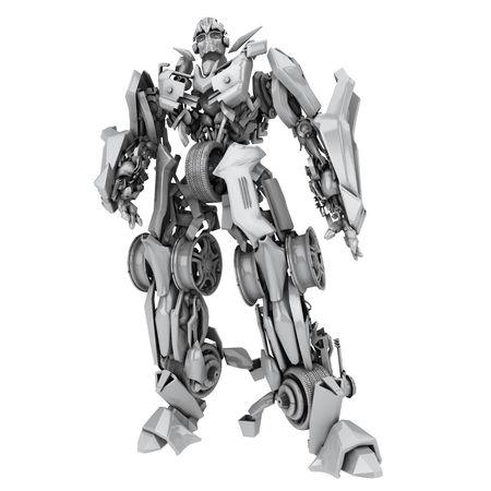 Robot transformer isolato su sfondo bianco. rendering 3D