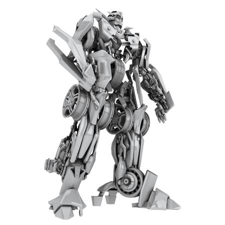 Robor transformer isolated on white. 3d rendered