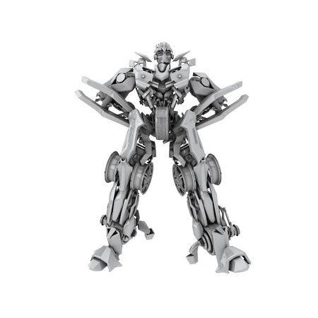 cybernetics: Robot Transformer isolated on white background. 3d rendered