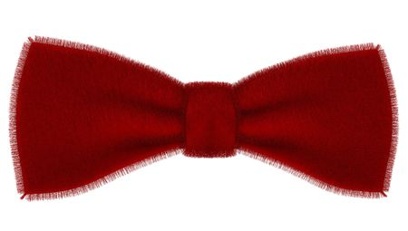 Red bow-tie from fur isoladed on mirror surface photo