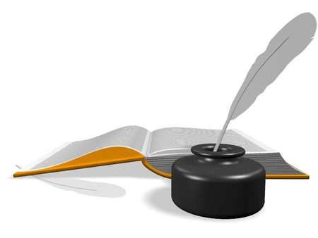 Layout of an open book. With Inkwell and pen. 3d render. Isolated on white. Stock Photo - 6743854