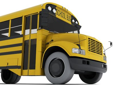 Single yellow school bus isolated on white background. Crop view photo