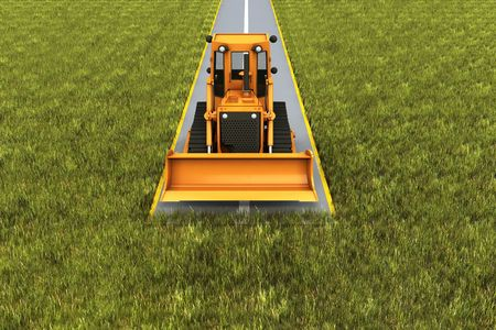 Road consrtuction. Paver machine on road in the grass. Concept render Stock Photo